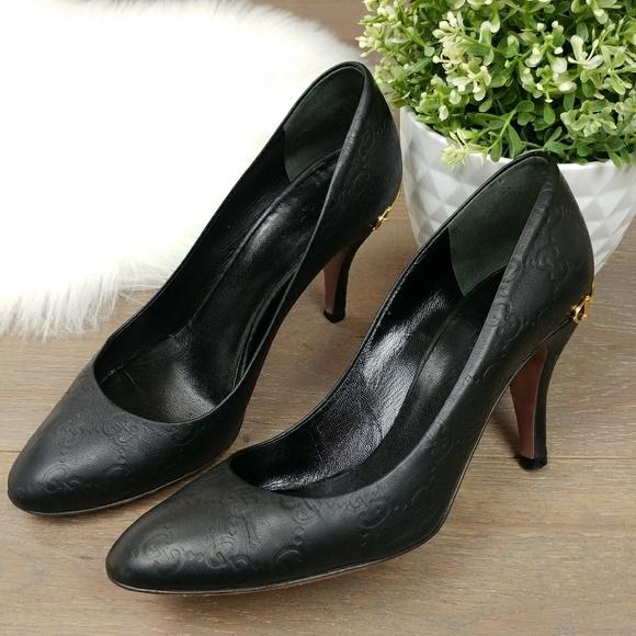 7631b846a Gucci Shoes | Black Ssima Leather Horsebit Pumps Round Toe | Poshmark